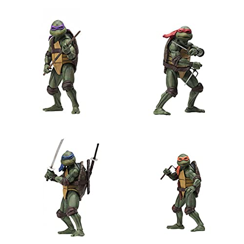 WRH Teenage Mutant Ninja Turtle Figuren 4-Teiliges Set,Ninja Turtles Actionfigur Anime Charakter Modell Spielzeug für Party Liefert Geburtstag Deko A-OneSize