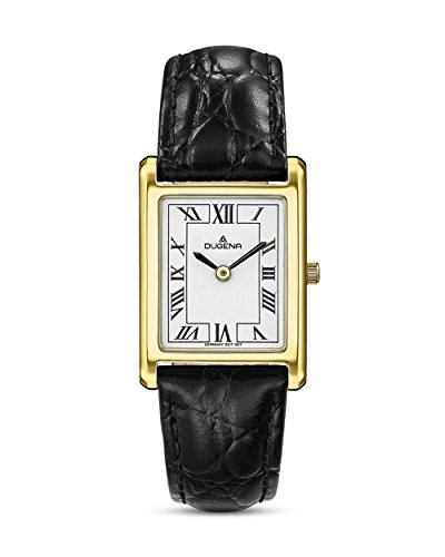 Dugena Damen Armbanduhr Quadra Classica Leder schwarz-gold-weiß