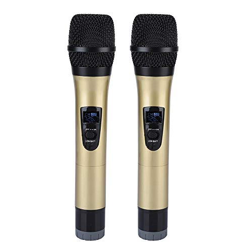 Funkmikrofon, Universal VHF Funkhandmikrofon mit Empfänger Tragbares digitales Funkmikrofon für Karaoke/Business Meeting(golden)
