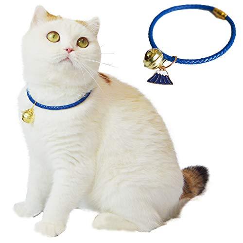Kukaster Pet 猫 首輪 鈴付き 猫の首輪 子犬 ペット用品 安全 セーフティー 単色 可愛い 軽量 (XS, 富士山)