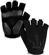 MOREOK Mens Cycling Gloves,Half Finger Biking Glove MTB DH Road Bicycle Gloves Gel Pad Shock-Absorbing Anti-Slip Breathable Motorcycle Mountain Bike Gloves Unisex Women AK050-Black-L