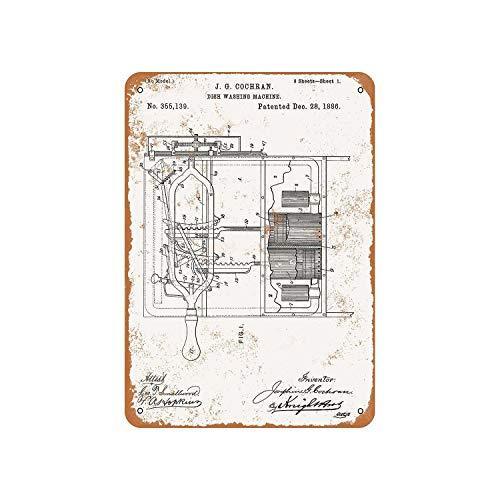 Fhdang Dekor Vintage Muster 1886 Geschirrspülmaschine Patent Vintage Look Metallschild Aluminium Schild, metall, multi, 6x9 inches