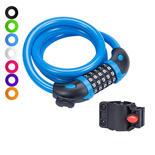 willceal Bike Lock Bicycle Chain Lock,with 5-Digit Resettable Number and Mounting Bracket,Combination Coiling Cable Lock Best for Bicycle Outdoors - 4 Feet x 1/2 Inch (Light Blue)