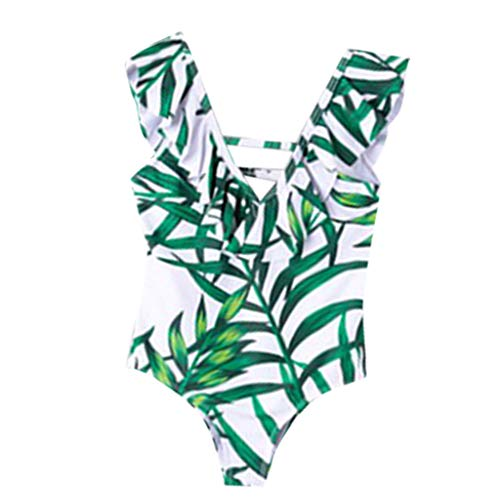 Review Kiminana Mommy and Me Family Matching Swimsuit One Piece Beach Wear Summer Leaves Sporty Mono...