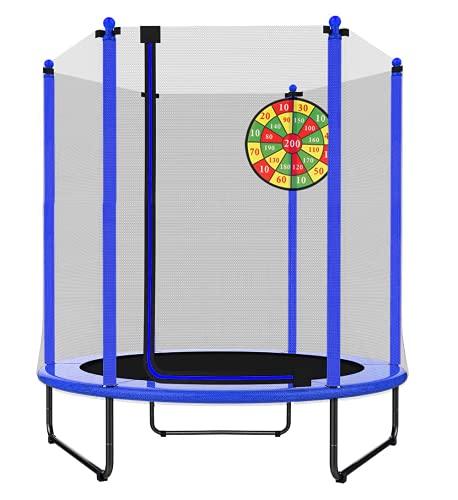 PILIN Trampolín de 1,4 m de diámetro x 1,7 m de Alto para Uso en Interiores y Exteriores con Red de Seguridad, Gran Regalo para niños en cumpleaños, Aniversario de Navidad (Azul)