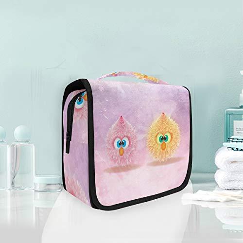 Bolsa de cosméticos plegable para colgar con forma de bola de pájaro, color rosa, organizador de viaje, para mujeres, niñas, baño