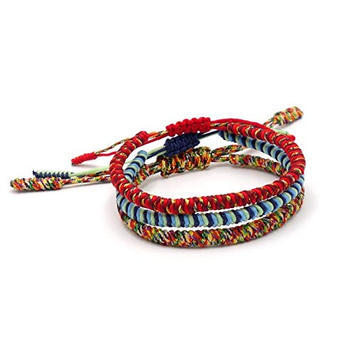 BENAVA Tibetisches Armband Bunt Glücksarmband – Freundschaftsarmband 3er Set Geflochten