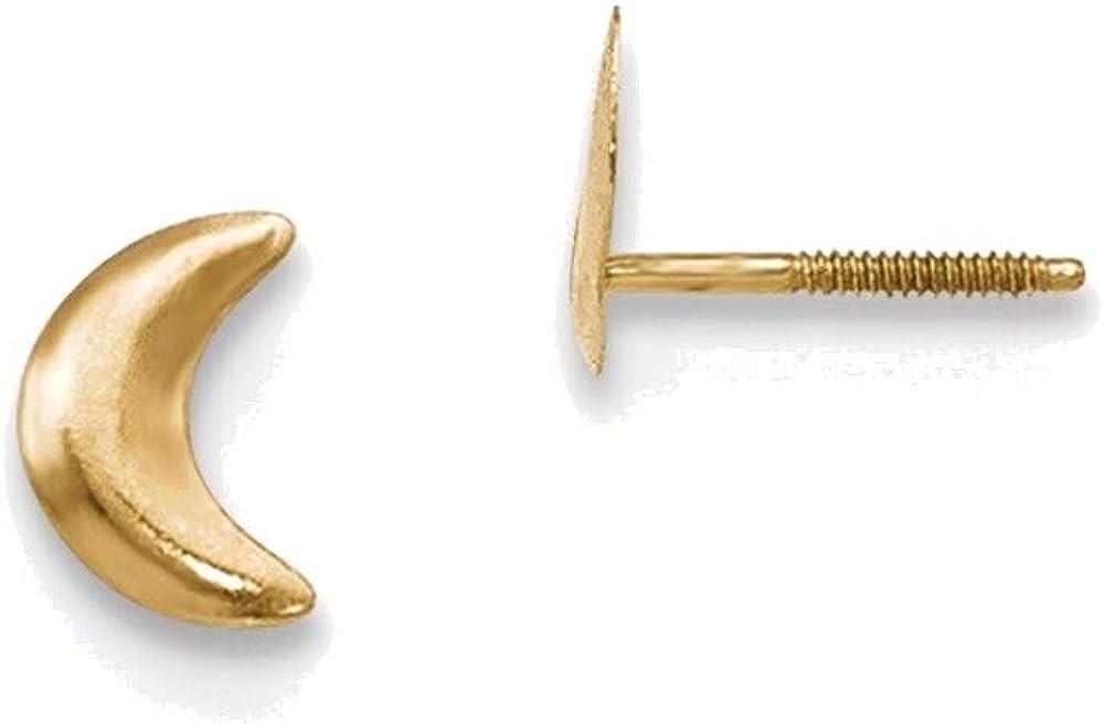 Madi K Moon Post Earrings in 14K Yellow Gold