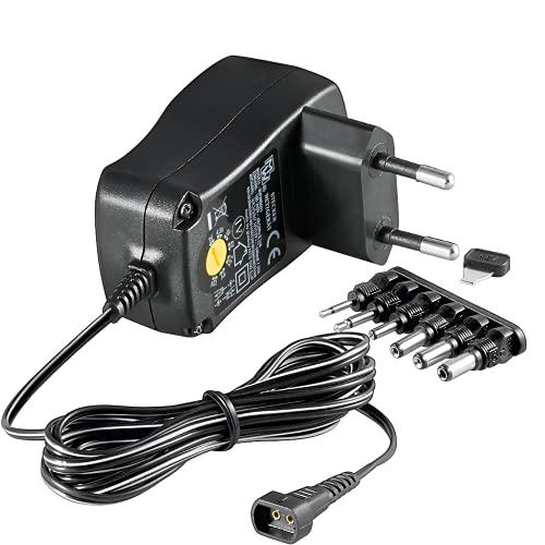 Goobay 67950 3-12V Universal-Netzteil mit maximum 7,2 W/600mAh inkl. 6 Adapterstecker DC schwarz
