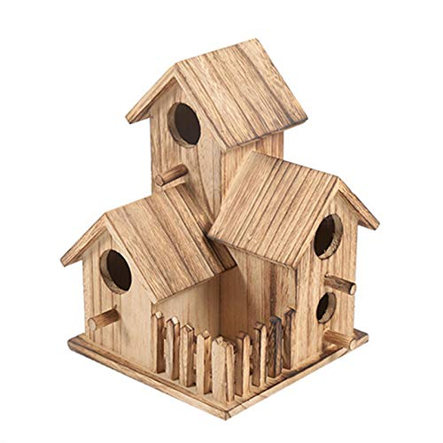zyl Vogel Nistkasten Handgemachte Holzgarten Vogelhaus Vogelhäuschen für kleine Vögel Spatzen, Home Decoration Outdoor Gardening | 3 Wildvogelhaus mit Zaun