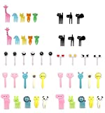 Tenedores de fruta, 46 unidades, para niños, de plástico, coloridos, para comida de animales, frutas, palillos de dientes y postres, para fiestas