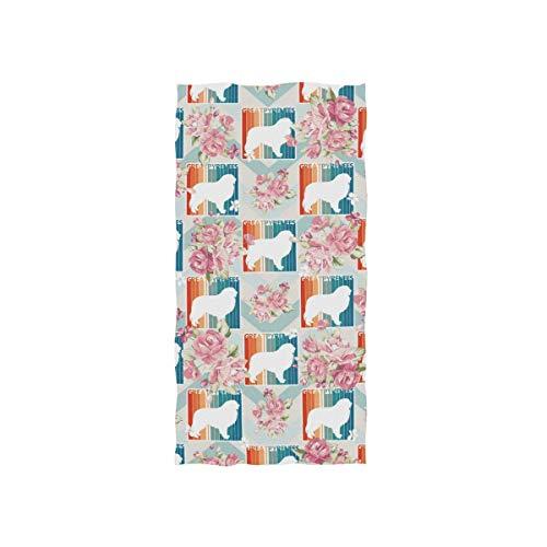 Bert-Collins Towel Toalla de Playa Decorativa Retro de los Grandes Pirineos para baño y Fitness, 80x130cm