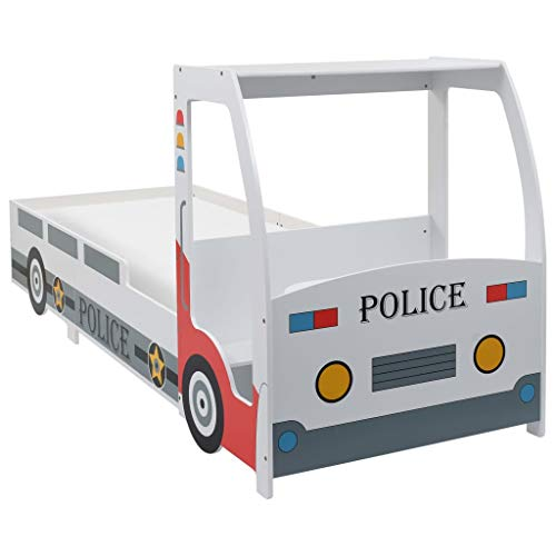 vidaXL Kinderbett Autobett Spielbett Juniorbett Jugendbett Einzelbett Polizeiwagen Bett Kindermöbel Kinderzimmer Schlafzimmer 90x200 cm inkl. Lattenrost