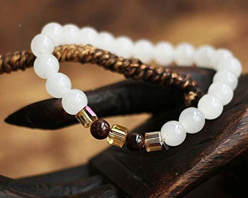DASHUAIGE Pulsera Granate Pulseras De Calcedonia Blanca Natural & Amp;Brazalete para Mujer Moda 7Mm Beads Jewelry
