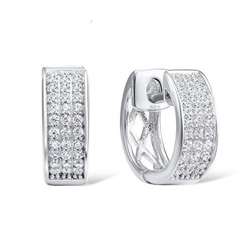 AdronQ Pendientes De Plata para Mujer Pendientes De Plata 925 con Circonitas Blancas Joyas