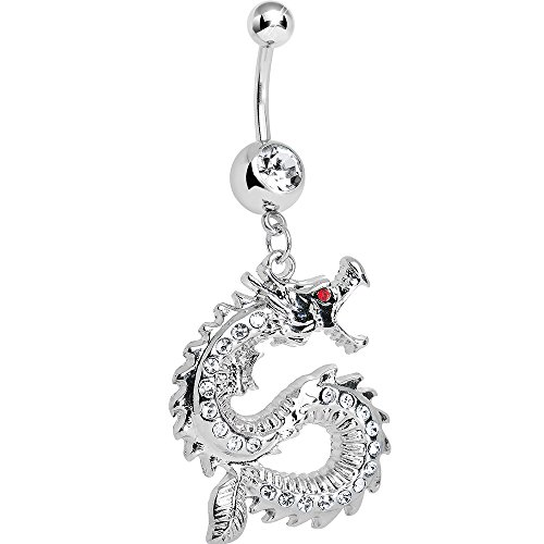 Body Candy Clear Chinese Dragon Charm Dangle Belly Ring