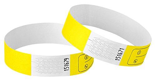 Haftpunkt Notfall-Armband für Kinder (20er Set) und Erwachsene mit Sicherheitsverschluss - Reissfest - Wasserfest - Premium SOS Armband - Sicherheitsarmband (Unisex, Gelb)