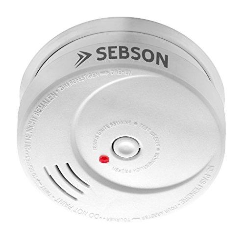 Sebson Detector de Humo NF, Batería de Litio de Larga Duración 10 Años, DIN EN 14604, fotoeléctrico, Detectores de Incendios GS506G