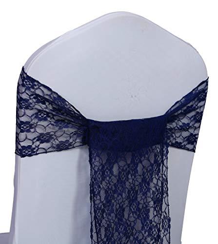 Events n Fabrics Stuhl Schärpen Spitze Stuhlbezug Bögen für Hochzeits- und Partydekoration 25 Stück Navy blau