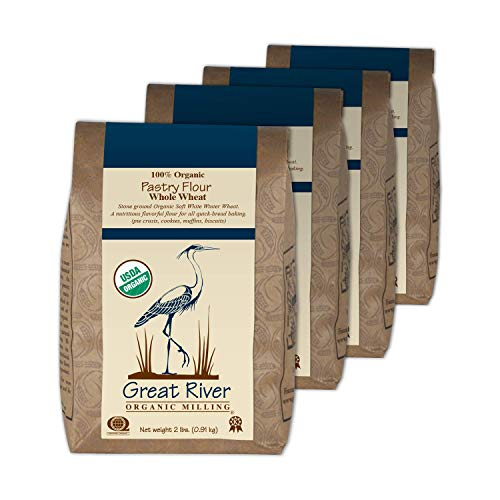 Great River Organic Milling Organic Whole Wheat Pastry Flourm 2 Pound, 4 Count