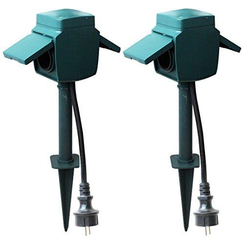 2er-SET Gartensteckdosen 2-fach mit Erdspieß, IP44, Außen Stromverteiler, Steckdosensäule