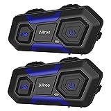 ALLROS T10-Intercom Moto Oreillette Bluetooth 3.0 Casque de Moto Interphone Étanche pour Moto & Ski (500M/ MP3/ GPS/Radio FM/ 2~3...