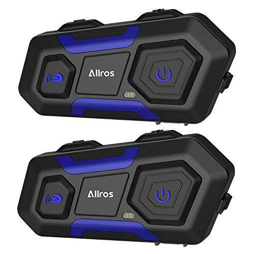 ALLROS T10 Auriculares Intercomunicador Moto Bluetooth,Intercomunicador Casco Moto Admite hasta 3 Motocicletas Comunicación Inalámbrica hasta 1200M con Manos Libres para Moto ATV Esquí