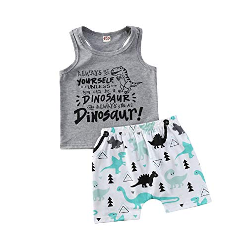 Baby Boy Summer Shorts Outfit Sleeveless Shirt Top Camisole+Shorts Pants Sleep and Play Clothes (Dinosaur, 3-4 Years)