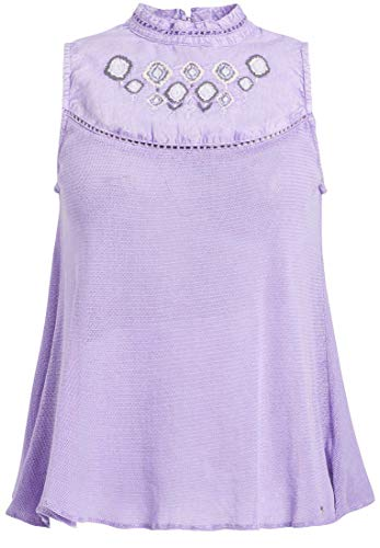 khujo Damen Top Leanne im Materialmix mit mehrfarbiger Stickerei ärmelloses Shirt aus Reiner Baumwolle