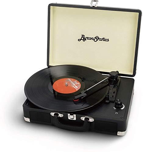 Byron Statics Tocadiscos, tocadiscos de 3 velocidades con 2 altavoces estéreo integrados, aguja de repuesto, salida de línea RCA, entrada AUX, conector para auriculares, maleta vintage