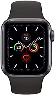 Apple Watch Series 5 GPS, 44mm Space Grey Aluminium Case with Black Sport Band - S/M & M/L