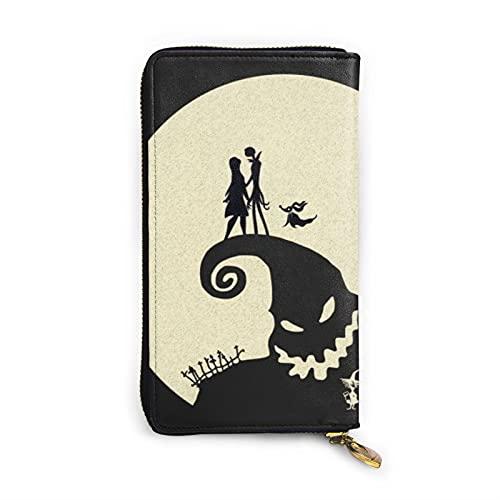 Pesadilla antes de Navidad Cartera de cuero multifuncional de alta capacidad RFID patrón de impresión cremallera carteras largo titular de la tarjeta de crédito para hombres y mujeres