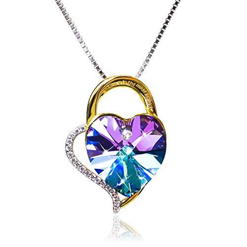Lekani Regalos para San Valentin, Collares Mujer Plata Colgante Amor por Siempre Cristal de Swarovski Joyas Regalos Originales para Mujer Madre Mamá Abuela (Purple)