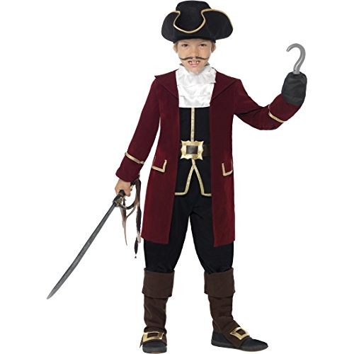 NET TOYS Kinder Piratenkostüm Edel Piraten Kostüm L 10-12 Jahre 140-158 cm Captain Hook Piratkostüm Seeräuberkostüm Freibeuter Kinderkostüm Pirat Faschingskostüm Karnevalskostüme Jungen