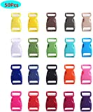 COSORO 50PCS Contoured Side Release Plastic Mini Buckles 3/8 Inch for Paracord Bracelets, Dog Collar, Webbing, Bushcraft, Backpack Accessories,Tent