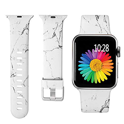 Laffav Compatible with Apple Watch Band 42mm 44mm iWatch SE & Series 6 & Series 5 4 3 2 1 for Women Girls, White Marble, S/M
