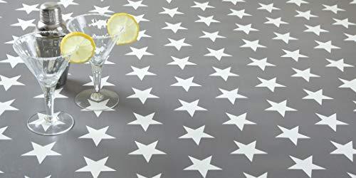 """Jolee Fabrics - Mantel de vinilo o hule de PVC, diferentes diseños y tamaños en tonalidades grises, algodón, Vinilo de PVC de estrella grande gris y blanco., 140cm (55"""") Diameter Round"""