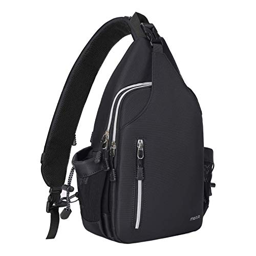 MOSISO Sling Backpack Double Layer Hiking Daypack Men/Women Chest Shoulder Bag, Black