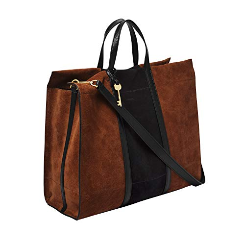 Fossil Women's Tote, Brown/Black, 15 L x 6.25 W 13 H US
