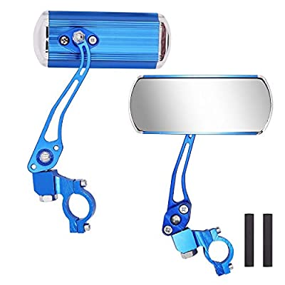 Jeemiter Bicycle Rearview Mirrors, Adjustable Rotatable Handlebars Glass Mirror, Safe 360 Rotation Rearview Mirror Mountain Bike Mirror-Blue