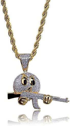 Moca Jewelry Hip Hop Iced Out Bling Holding The Gun Personalized Pendant 18K Gold Plated Chain product image
