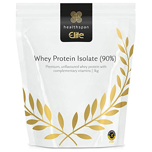 Whey Protein Isolate (90%) 1kg | Healthspan Elite | All Blacks Official Partner | Informed Sport Accredited | 32g Protein & 3.5g Leucine Per Serving | Vitamins and Minerals