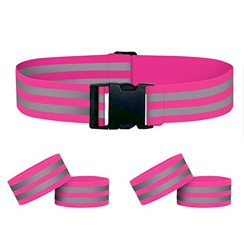 Houdao 4pcs Reflective Armbands Ankle Bands and 1pcs High Vis Belt...