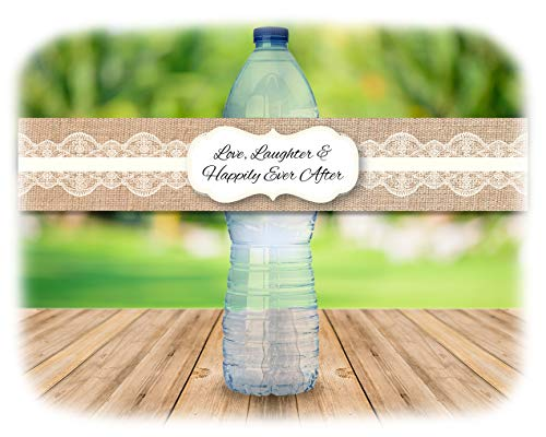 48 Rustic Burlap and Lace Water Bottle Decal Stickers | Indoor or outdoor Country Wedding | (Ivory)
