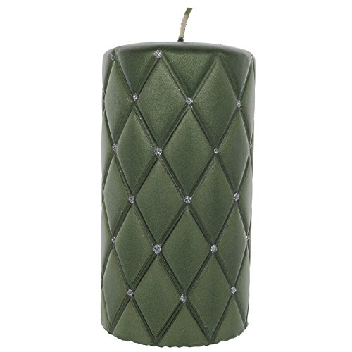 tradingbay24 Elegance-Stumpenkerze Diamant mit Glitzerelementen Handarbeit Ø 7 cm Handmade Deko-Kerze Design-Kerze Elegance-Kerze (14 cm, grün (glänzend))