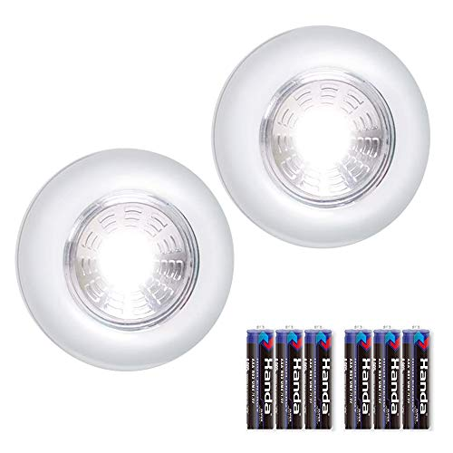 WONDER 4U LED BatteryPowered Wireless Night Light Stick Tap Touch Lamp Stickon Push Light for Closets Cabinets Counters or Utility RoomsCordless Touch Light2 PCS