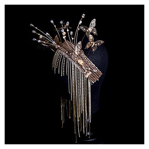 xiaofeng214 Diademas Vintage de Corona de Mariposa, Diadema de Lujo con borlas, Enredadera para el...