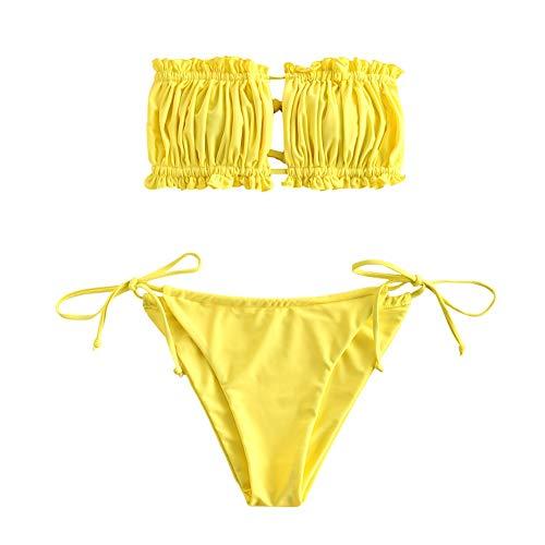 ZAFUL - Bikini da donna, senza spalline, con lacci e ruche, tinta unita giallo. S