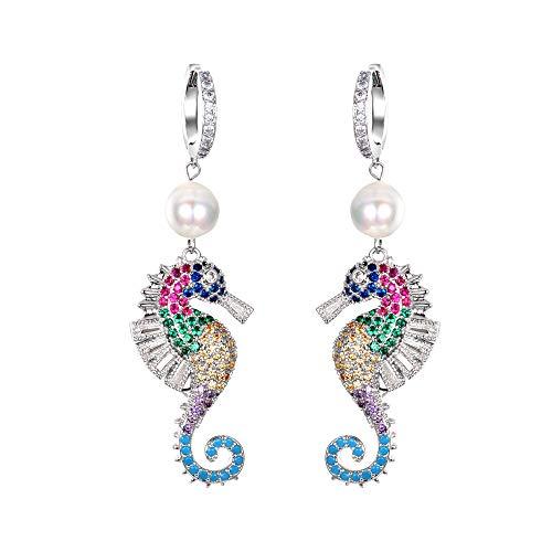 Clearine Seahorse Earrings Animal Cubic Zirconia Simulated Pearl Croelen for Women Girls Multicoloured Silver Tone Multicoloured silver tone