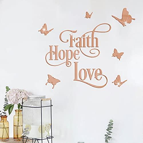 Spiegel Wandaufkleber Faith Hope Love, 9 Stück 3D Schmetterling Wandaufkleber Acryl Wandtattoos Wanddekoration Wohnzimmer, DIY Wasserdicht Wandaufkleber Wohnzimmer [Pink]